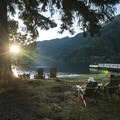 The front lawn at Lake Crescent Lodge.- Lake Crescent Lodge