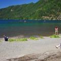 Lake Crescent Lodge Beach.- Lake Crescent Lodge Beach