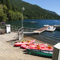 Marina and boat rental at Fairholme Beach/Campground.- Lake Crescent, Fairholme Campground