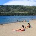 China Cove is home to a popular swimming beach.- Donner Memorial State Park Campground