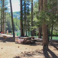 Day use and picnic area at the Donner Creek outlet.- Donner Memorial State Park