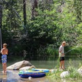 Fishing in July on Donner Creek.- Donner Memorial State Park
