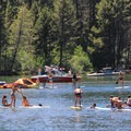 A floatilla of stand-up paddleboards on Donner Lake.- Donner Memorial State Park