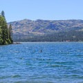 Looking west across Donner Lake from Donner Memorial State Park.- Donner Memorial State Park