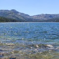 Looking down Donner Lake from near China Cove. Donner Peak (8,020') stands tall center left, rising above the notch of Donner Pass.- Donner Memorial State Park