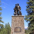 The Pioneer Monument Statue is dedicated to the pioneers who journeyed to California overland. The statue looks west toward Donner Summit.- Donner Memorial State Park