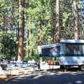 Typical campsite at Tahoe SRA Campground.- Tahoe State Recreation Area Campground