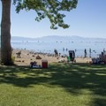 Commons Beach Park lies on Lake Tahoe's northwest shore, within Tahoe City.- Commons Beach