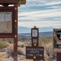 Pay site and information at Mesquite Spring Campground.- Mesquite Spring Campground