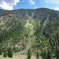 One of several large avalanche paths that run to the bottom of the East Fork of the North Fork of the Big Wood.- North Fork of the Big Wood - East Fork of the North Fork