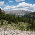 A view toward Ryan and Kent Peaks, the highest in the Boulders.- North Fork of the Big Wood - Amber Lakes