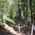 A young hiker starts up the steeper switchbacks leading into the Amber Lakes Basin.- North Fork of the Big Wood - Amber Lakes