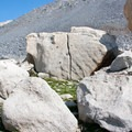 Huge granite boulders flank the trail above Betty Lake.- Broad Canyon: Betty, Goat + Baptie Lakes and the Surprise Valley Divide