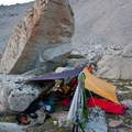 Bivvy among the boulders.- Broad Canyon: Betty, Goat + Baptie Lakes and the Surprise Valley Divide