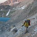 The trail to the divide with Surprise Valley makes several switchbacks through steep talus and scree fields.- Broad Canyon: Betty, Goat + Baptie Lakes and the Surprise Valley Divide