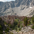 The trail climbs though a few additional steep sections before reaching Betty Lake.- Broad Canyon: Betty, Goat + Baptie Lakes and the Surprise Valley Divide