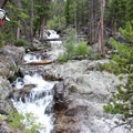 Attentive hikers can wander off trail to find this waterfall just beyond the Moose Lake junction.- Fall Creek Canyon Hike