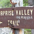 Trail sign at the Surprise Valley junction.- Fall Creek Canyon Hike