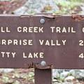 Trail sign at Moose Lake junction.- Fall Creek Canyon Hike
