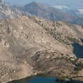 Looking down onto the uppermost lake in Surprise Valley from the west ridge of Altair Peak.- Fall Creek - Surprise Valley, Broad Canyon Divide