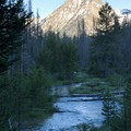 An unnamed peak up Fishook Canyon towers over a meandering turn in the creek.- Marshall Lake