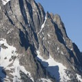 The massive bulk of Horstman Peak towers over Fishook Creek and is easily viewed from the Marshall Lake/Alpine Way Trail.- Marshall Lake