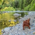 The North Fork of the Yuba River runs through the resort's backyard.- Herrington's Sierra Pines Resort