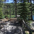 The resort's lakeside dining area. A lakeside gazebo bar is also made avaialble.- Sardine Lake Resort