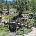 A bridge spanning Frazier Creek marks the half-way point.- Frazier Falls