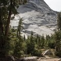 The Cathedral Lakes Trail follows a short section of the John Muir Trail, passing impressive glacially-carved granite formations.- Cathedral Lakes Trail