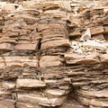 Layers of brittle limestone along the Mosaic Canyon Trail, Death Valley National Park.- Mosaic Canyon Trail