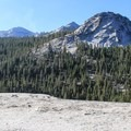 View south toward the Cathedral Range and Fairview Dome (9,728'), right.- Pothole Dome