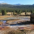 Carbonated water surfaces in the rust-colored puddles at Soda Springs.- Soda Springs