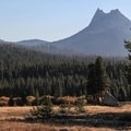 Cathedral Peak rises above Tuolumne.- Soda Springs