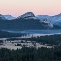 Dawn view over Tuolumne Meadows, with Fairview Dome (9,728') in center.- Lembert Dome, Southeast Face