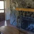 The interior of one of the rustic cabins available at Mono Hot Springs Resort.- Mono Hot Springs Resort