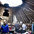 Tour planning and cooking dinner in the Fishook Yurt.- Fishhook Yurt