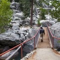 One of two footbridges found along the loop that cross the Kings River.- Kanawyer Loop Trail