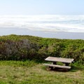 Protected picnic table near the beach access. - Ocean Beach Picnic Area