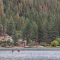 Paddlers enjoying solitude on Hume Lake.- Hume Lake Recreation Area