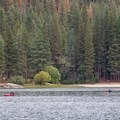 Hume Lake provides excellent boating and trout fishing.- Hume Lake Campground