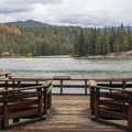 The viewing dock near Hume Lake Campground.- Hume Lake Campground