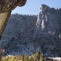 The massive granite Watchtower overlooks the falls and the upper valley.- Tokopah Valley Trail