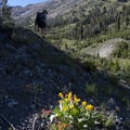 Descending back to the valley floor of the West Fork of the North Fork Canyon.- North Fork of the Big Wood - Window Lake