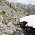 Mostly a wasteland of broken sedimentary scree and talus, the headwaters of the North Fork are a challening off-trail scramble.- North Fork of the Big Wood