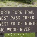 The North Fork Trail leaves the northeast end of the parking lot, and the West Fork of the North Fork of the Big Wood Trail leaves from the west end.- North Fork of the Big Wood