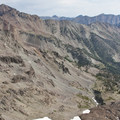 A view down onto the alpine rock and scree slopes of the North Fork headwaters from the divide with the West Fork of the North Fork.- North Fork of the Big Wood