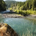 Perfect swimming hole/cliff jumping spot on the Elwha River.- Elwha River Trail, Goblin Gates + Humes Ranch Loop