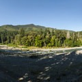 Panoramic view of the Elwha River.- Elwha River Trail, Goblin Gates + Humes Ranch Loop