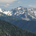 View south toward Mount Clark (7,528') in the Olympic Mountains.- Klahhane Ridge Trail + Sunrise Point